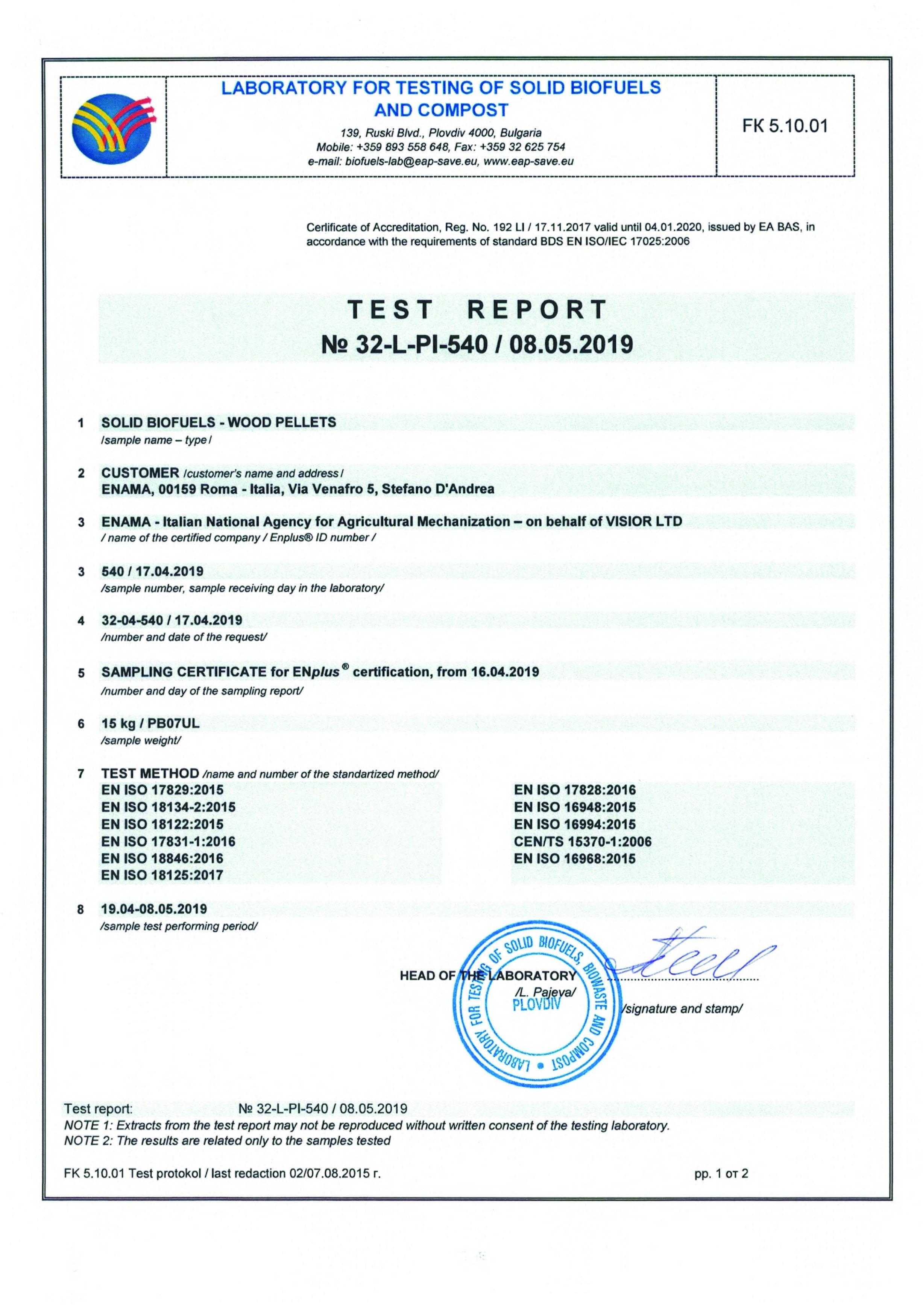 Test report sample 540 PB07UL scan 1